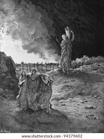 Destruction of Sodomand and Gomorrah. 1) Le Sainte Bible: Traduction nouvelle selon la Vulgate par Mm. J.-J. Bourasse et P. Janvier. Tours: Alfred Mame et Fils. 2) 1866 3) France 4) Gustave Doré - stock photo