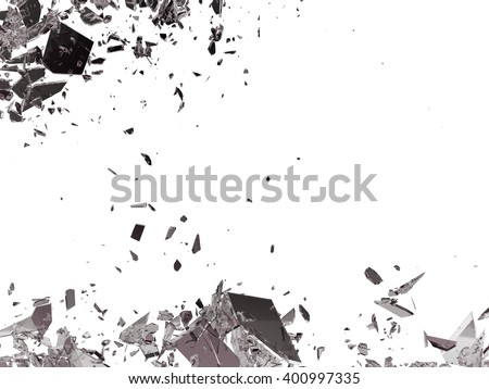 Destruction Shattered or demolished glass on white - stock photo
