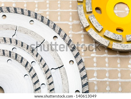 detachable disks for are sharp construction materials and Diamond disks for a concrete abrasion - stock photo