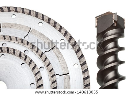 detachable disks for are sharp construction materials and the drill   - stock photo