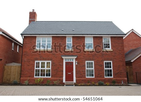 detached and typical british residential house with small entrance garden (isolated on white) - stock photo