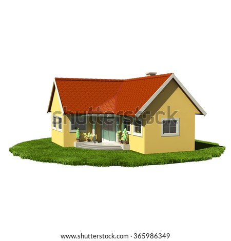 Detached family house with red tiled roof and green grass base - isolated on white - stock photo
