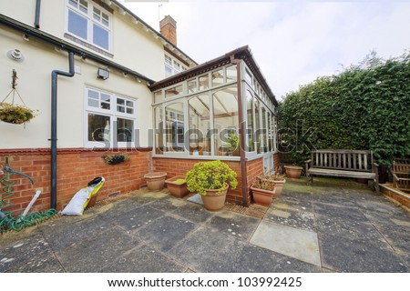detached house exterior view - stock photo