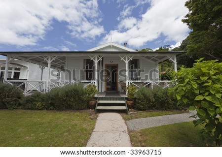 Detached House with Veranda, New Zealand - stock photo