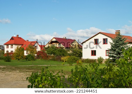 Detached houses in the small town. - stock photo