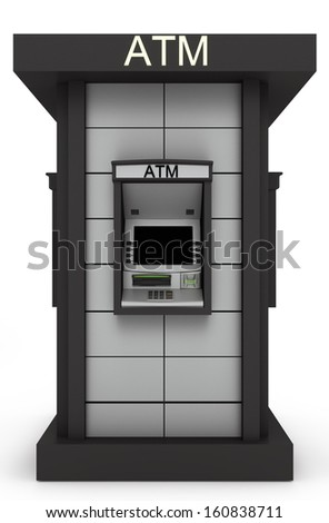 Detached street  totem with automated teller machine. Isolated on white background