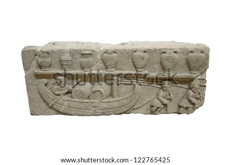Detail, ancient Roman sarcophagus  found in Avignon, France