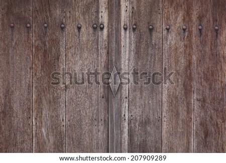 detail ancient wood doors - stock photo