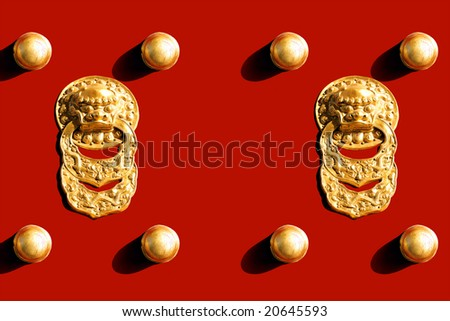 Detail and Texture of Chinese Royal Red Gates with Golden Lion - stock photo