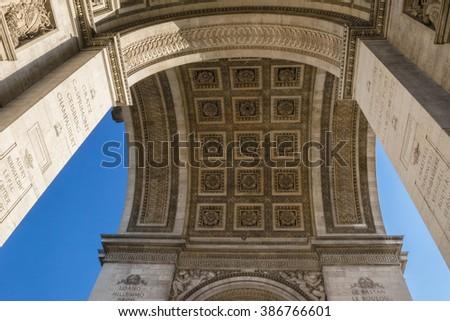 Detail Arc de Triomphe Paris city at sunset - Arch of Triumph - stock photo