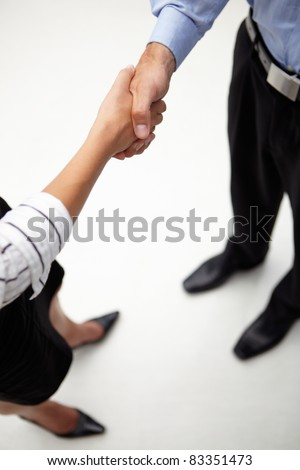 Detail businessman and woman shaking hands - stock photo