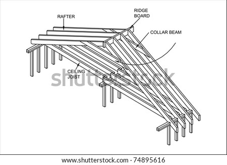 Detail Carpenter's Construction of the roof - stock photo