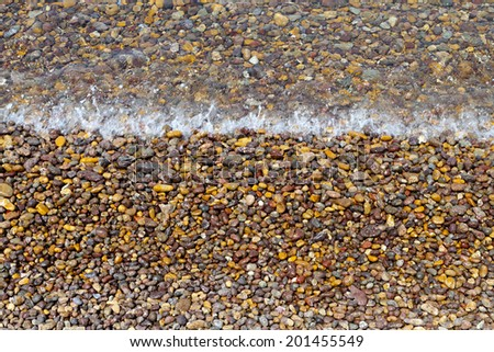 Detail close up image of a beach at Patmos island in Greece - stock photo