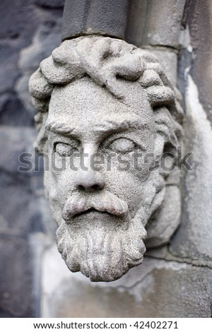 Detail close ups of Stone Cathedral Ornaments on the outside of St Patricks Cathedral, Melbourne, Victoria, Australia