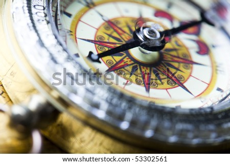 Detail closeup compass - stock photo