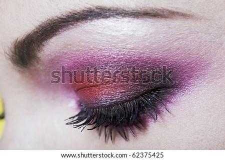 detail closeup makeup beauty eyebrow colorful - stock photo