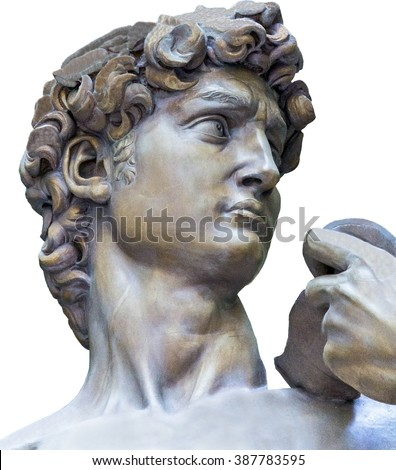 Detail closeup of Michelangelo's David statue on white background - stock photo