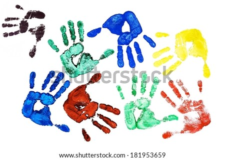 Detail different colored hand-prints on white background - stock photo