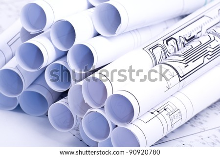 Detail  drawings and drawings rolled in a tube - stock photo