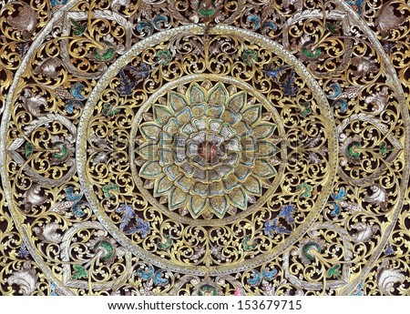 detail form decoration of temple of Thailand. Native Thai style and this is Traditional and generic style in Thailand - stock photo