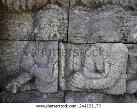 Detail from Borobudur temple at Central Java in Indonesia - stock photo