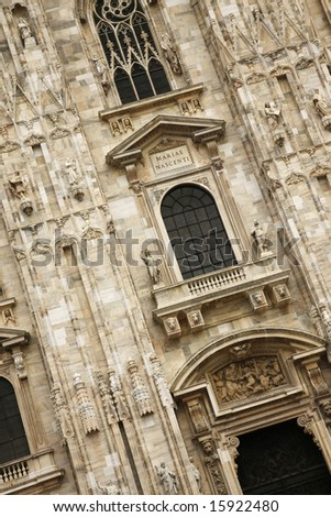 Detail from Milan's grand cathedral - Piazza del Duomo