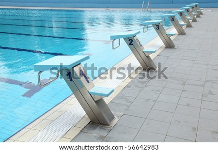 Detail from open air olympic swimming pool - starting places