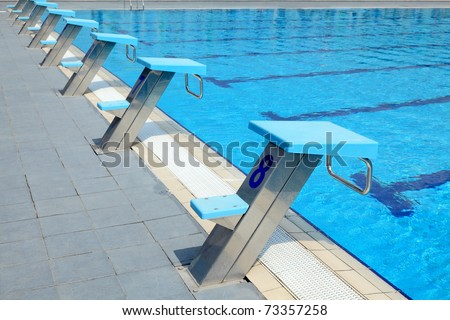 Detail from open air olympic swimming pool - starting places - stock photo