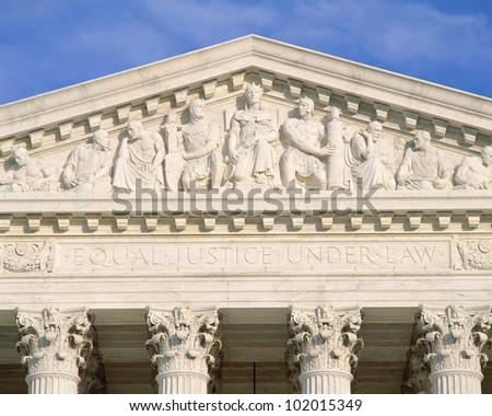 Detail from Supreme Court Building - stock photo