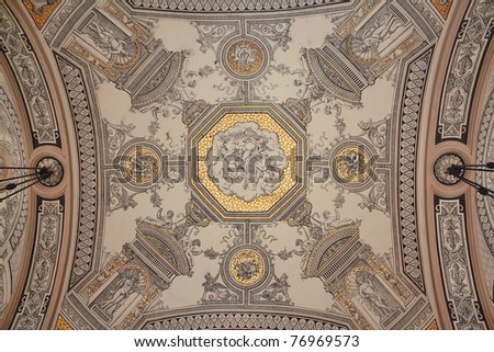 Detail from the ceiling of Opera house in Budapest - stock photo