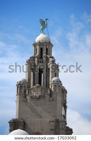 Detail from the famous Liver Building, Liverpool, England - stock photo