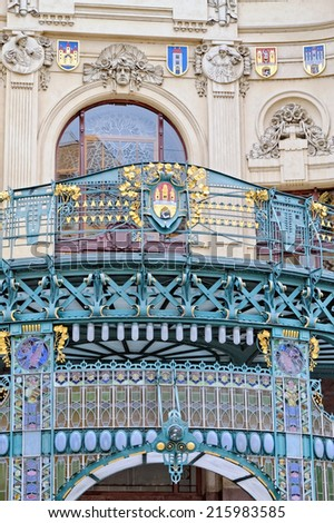 Detail from the historic municipal House (Smetana Hall) in Prague (Czech Republic), built in 1912. Its a building in Art Nouveau style with handmade mosaic by Karel Spillar on the facade. - stock photo