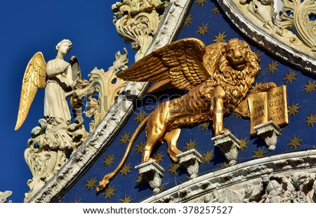Detail Saint Mark Basilica Gable Venice Stock Photo Royalty Free