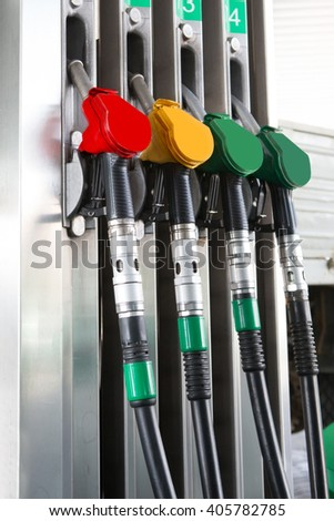 Detail fuel pump at auto gas station, close up - stock photo