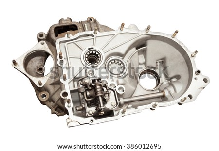 Detail gearbox car. Isolated on white background with clipping path - stock photo