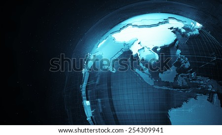 detail globe concept with dark background and fractured country surface