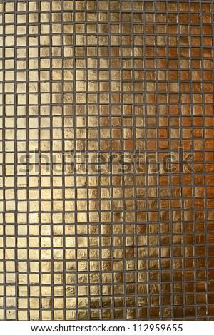 detail gold mosaic tiles texture - stock photo