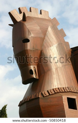 Detail: Head of the Trojan Horse at Troy - stock photo