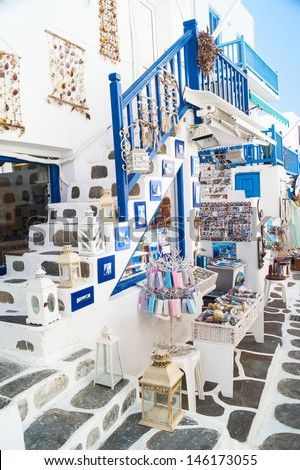 Detail image from a greek touristic shop on Mykonos island, Greece - stock photo