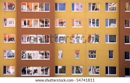 Detail image of a lot of windows in prefab. - stock photo