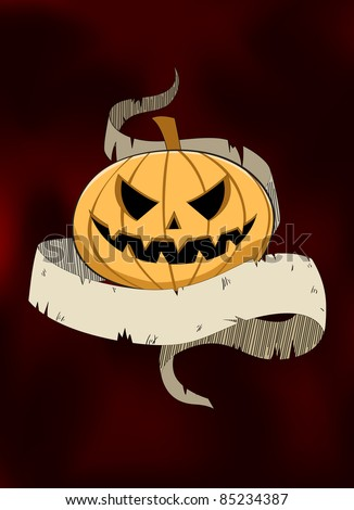 Detail image of Jack-o-lantern and blank banner