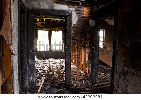 Detail images from a home that was abandoned after a large housefire. - stock photo