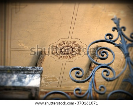 Detail. in a ceiling with frescoes, do, renovation. old mansion house in Greece. concept for maintenance and repair of the house. - stock photo