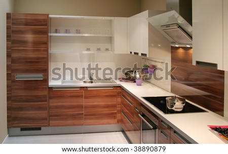 detail in a modern and new kitchen - stock photo