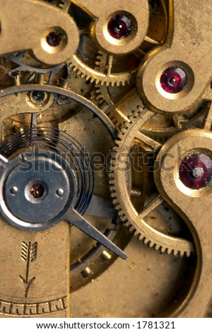 Detail inside an antique stopwatch, with real rubies - stock photo