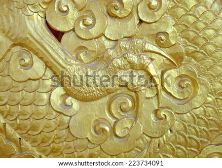 Detail leg of Golden Chinese Dragon - stock photo