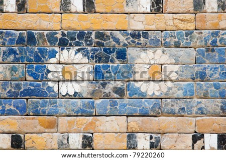 Detail of a Babylonian city wall in Pergamon museum ,Berlin - stock photo