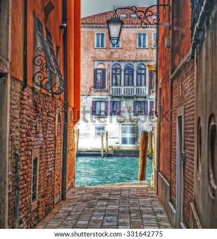 detail of a backstreet in Venice, Italy - stock photo
