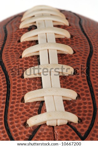 Detail of a ball for american football isolated. With shallow DOF
