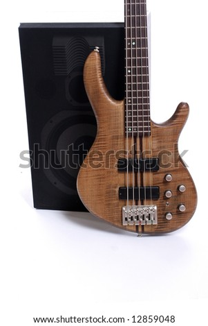 Detail of a bass and speakers - isolated on white background - stock photo